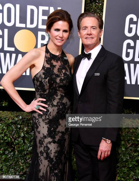 Desiree Gruber and Kyle McLachlan attend The 75th Annual Golden Globe Awards at The Beverly Hilton Hotel on January 7 2018 in Beverly Hills California
