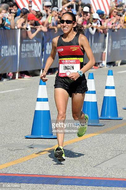 Desiree Linden finshes second at the US Olympic Team Trials Womens Marathon and qualifies for the US Olympics on February 13 2016 in Los Angeles...