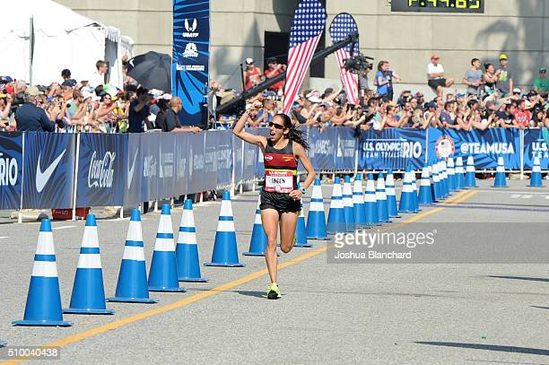Desiree Linden finshes second in the US Olympic Team Trials Women's Marathon on February 13 2016 in Los Angeles California