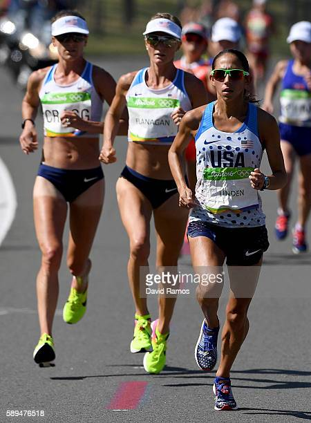 Desiree Linden of the United States competes during the Women's Marathon on Day 9 of the Rio 2016 Olympic Games at the Sambodromo on August 14 2016...