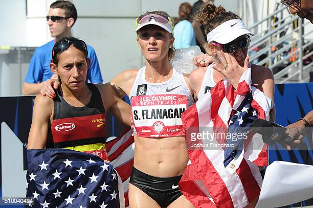 Desiree Linden Shalene Flanagan and Amy Cragg celebrate after qualifing for the Women's Olympic Team in the US Olympic Team Trials Marathon on...