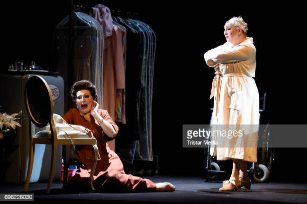 Desiree Nick and Manon Strache perform during the rehearsal of the play 'Bette Joan' on June 15 2017 in Berlin Germany