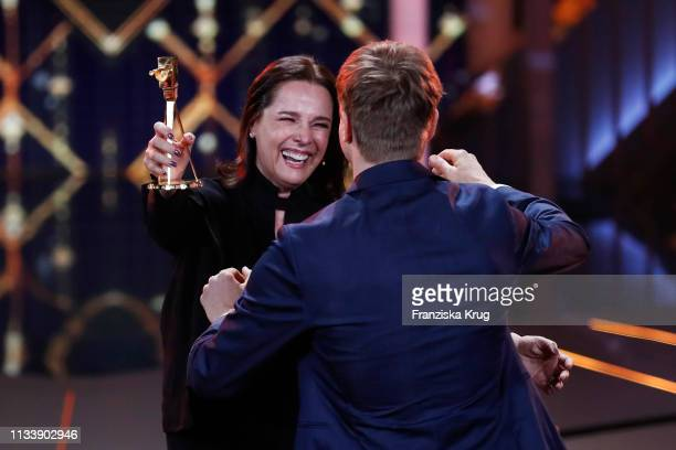 Desiree Nosbusch and Albrecht Schuch during the Goldene Kamera show at Tempelhof Airport on March 30 2019 in Berlin Germany