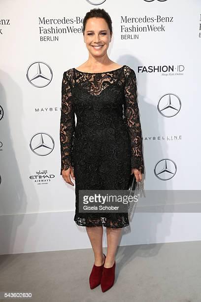 Desiree Nosbusch attends the Minx by Eva Lutz show during the MercedesBenz Fashion Week Berlin Spring/Summer 2017 at Erika Hess Eisstadion on June 29...