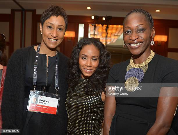 Desiree Rogers actress Jada Pinkett Smith and Hafsat Abiola attend the launch of Chime for Change founded by Gucci at TED held at The Westin on...