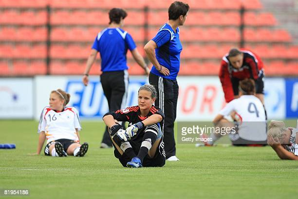 Desiree Schumann of Germany looks dejected after the Women's U19 European Championship match between Germany and Norway at Valle du Cher stadium on...