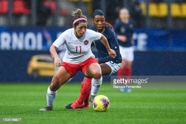 Desiree SCOTT of Canada and Grace GEYORO of France during the Tournoi de France International Women's soccer match between France and Canada on March...