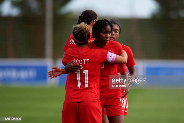 Desiree Scott of Canada and Kadeisha Buchanan of Canada celebrates victory after the international friendly match between Canada W and Nigeria W at...