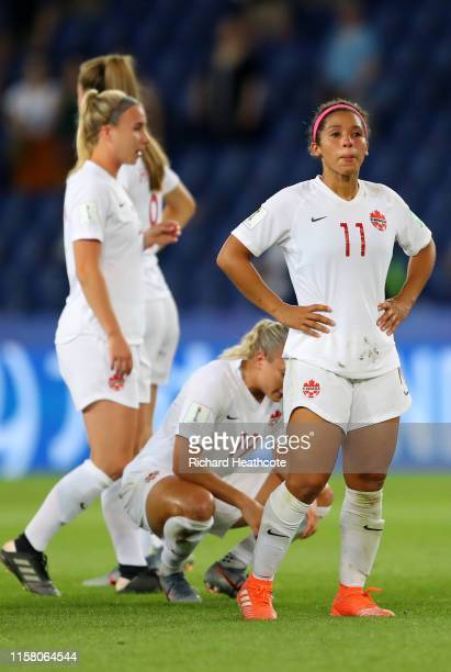 Desiree Scott of Canada looks dejected following her sides defeat in the 2019 FIFA Women's World Cup France Round Of 16 match between Sweden and...