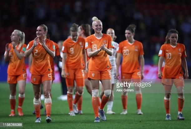 Desiree Van Lunteren and Danique Kerkdijk of the Netherlands applaud fans after the 2019 FIFA Women's World Cup France Round Of 16 match between...