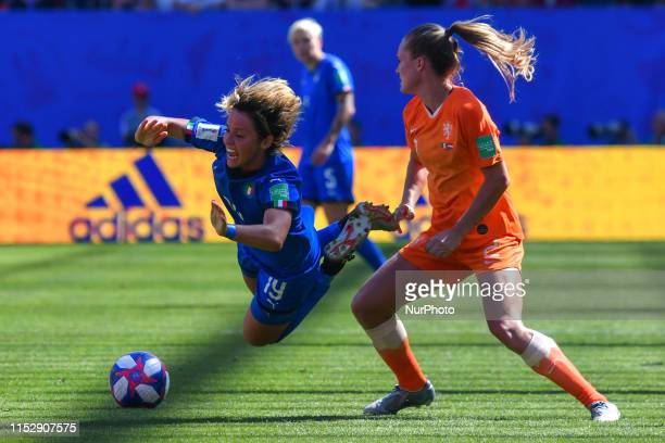 Desiree Van Lunteren and Valentina Giacinti fighting for the ball during the quarter-final between in ITALY and NETHERLANDS the 2019 women's football...