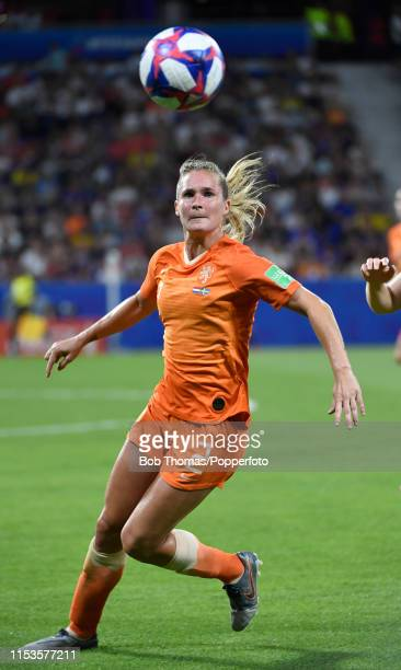 Desiree Van Lunteren in action for the Netherlands during the 2019 FIFA Women's World Cup France Semi Final match between Netherlands and Sweden at...