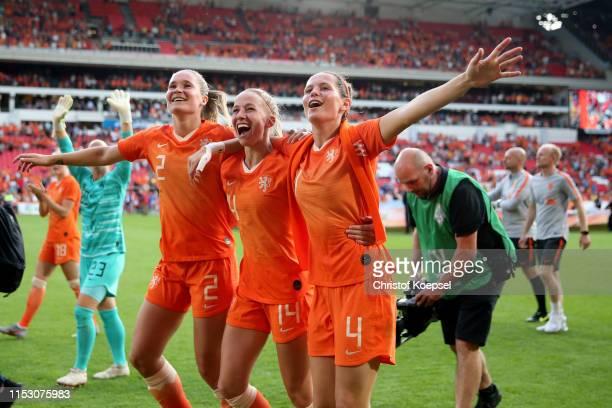 Desiree van Lunteren Jackie Groenen and Merel van Dongen of Netherlands celebrate after the international friendly match beweteen Netherlands Women...