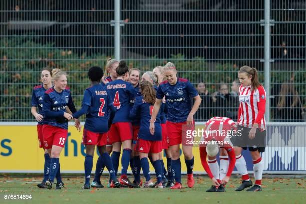 Desiree van Lunteren of Ajax Women celebrates 12 with Marjolijn van den Bighelaar of Ajax Women Linda Bakker of Ajax Women Inessa Kaagman of Ajax...