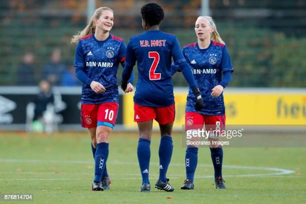 Desiree van Lunteren of Ajax Women Liza van der Most of Ajax Women Inessa Kaagman of Ajax Women during the Dutch Eredivisie Women match between PSV v...