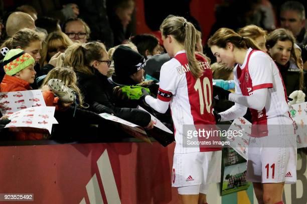 Desiree van Lunteren of Ajax Women, Marjolijn van den Bighelaar of Ajax Women with supporters during the Dutch Eredivisie Women match between Ajax v...