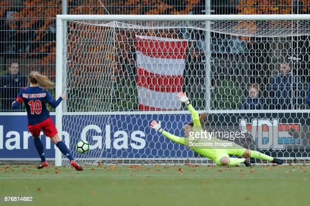 Desiree van Lunteren of Ajax Women scores the third goal to make it 1-2, Angela Christ of PSV Women during the Dutch Eredivisie Women match between...