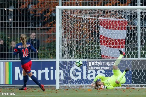 Desiree van Lunteren of Ajax Women scores the third goal to make it 12 Angela Christ of PSV Women during the Dutch Eredivisie Women match between PSV...