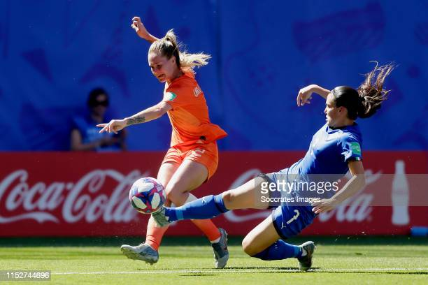 Desiree van Lunteren of Holland Women, Alia Guagni of Italy Women during the World Cup Women match between Italy v Holland at the Stade du Hainaut on...