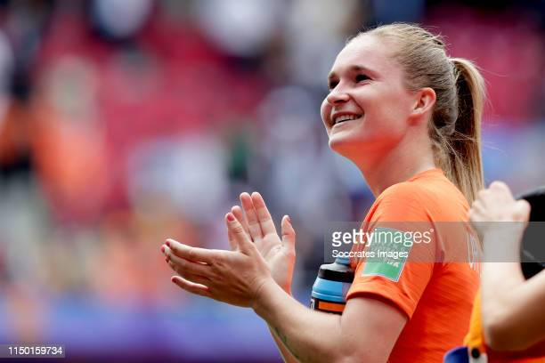 Desiree van Lunteren of Holland Women celebrates the victory during the World Cup Women match between Holland v Cameroon at the Stade du Hainaut on...