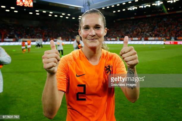 Desiree van Lunteren of Holland Women celebrates the victory during the World Cup Qualifier Women match between Holland v Slovakia at the Abe Lenstra...