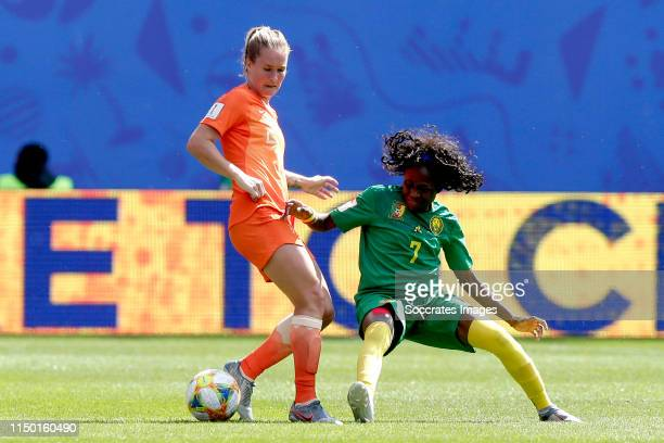 Desiree van Lunteren of Holland Women, Gabrielle Aboudi Onguene of Cameroon Women during the World Cup Women match between Holland v Cameroon at the...