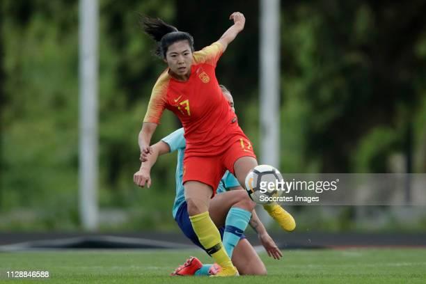 Desiree van Lunteren of Holland Women, Gu Yasha of China Women during the Algarve Cup Women match between China PR v Holland at the Estadio Municipal...
