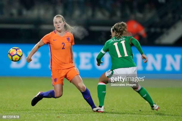 Desiree van Lunteren of Holland Women Katie McCabe of Republic of Ireland during the World Cup Qualifier match between Holland v Republic of Ireland...