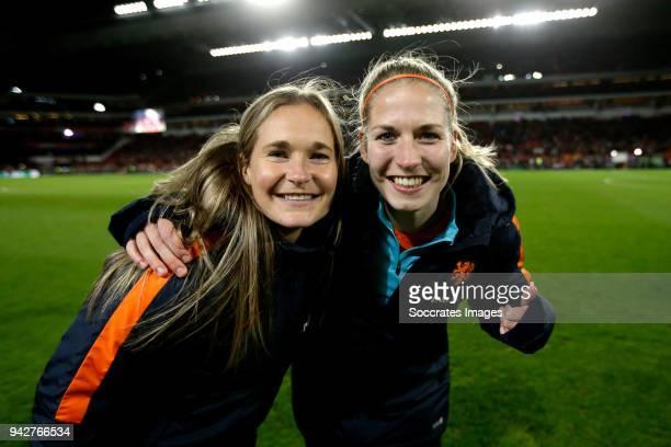 Desiree van Lunteren of Holland Women, Kelly Zeeman of Holland Women celebrates the victory during the World Cup Qualifier Women match between...