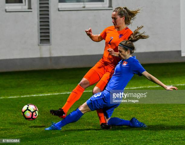 Desiree van Lunteren of Holland Women Lucie Harsanyova of Slovakia women during the World Cup Qualifier Women match between Slovakia v Holland at the...