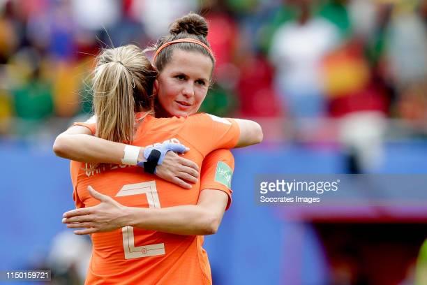 Desiree van Lunteren of Holland Women, Merel van Dongen of Holland Women celebrates the victory during the World Cup Women match between Holland v...