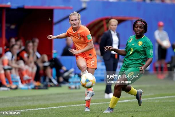 Desiree van Lunteren of Holland Women, Raissa Feudjio of Cameroon during the World Cup Women match between Holland v Cameroon at the Stade du Hainaut...