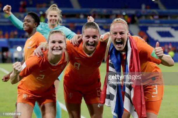 Desiree van Lunteren of Holland Women, Sherida Spitse of Holland Women, Stefanie van der Gragt of Holland Women celebrates the victory during the...