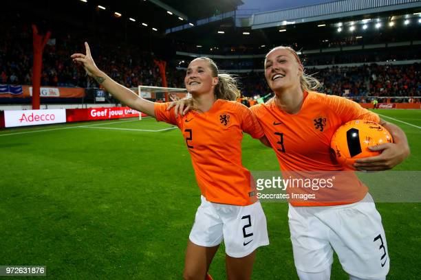 Desiree van Lunteren of Holland Women Stefanie van der Gragt of Holland Women celebrates the victory during the World Cup Qualifier Women match...