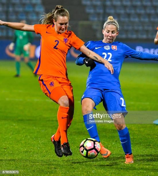 Desiree van Lunteren of Holland Women Veronika Slukova of Slovakia women during the World Cup Qualifier Women match between Slovakia v Holland at the...