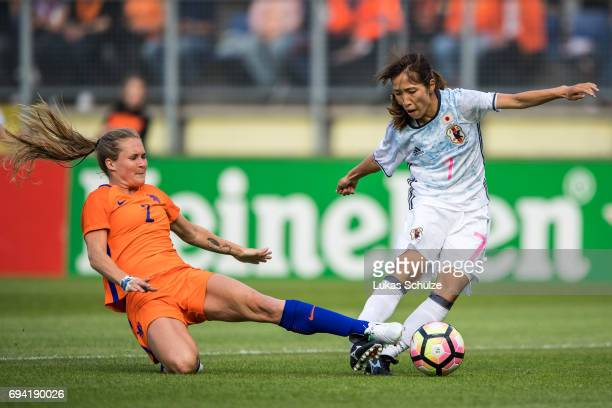 Desiree van Lunteren of Netherlands and Emi Nakajima of Japan fight for the ball during the Women's International Friendly match between Netherlands...