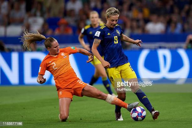 Desiree Van Lunteren of Netherlands and Lina Hurtig of Sweden competes for the ball during the 2019 FIFA Women's World Cup France Semi Final match...