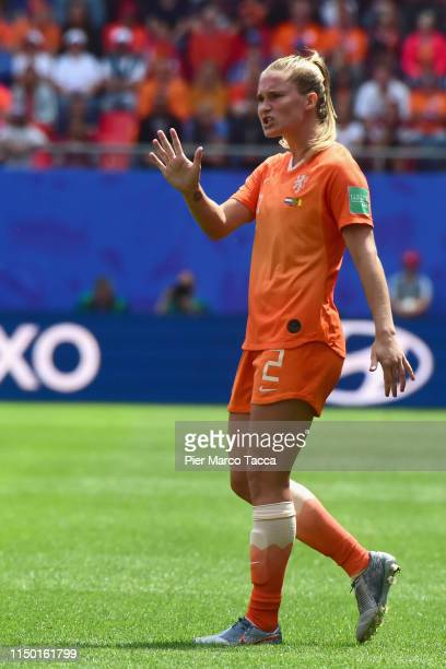 Desiree Van Lunteren of Netherlands gestures during the 2019 FIFA Women's World Cup France group E match between Netherlands and Cameroon at Stade du...