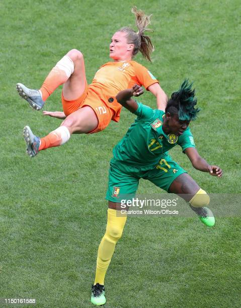 Desiree Van Lunteren of the Netherlands and Gaelle Enganamouit of Cameroon during the 2019 FIFA Women's World Cup France group E match between...