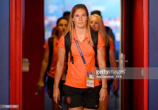 Desiree Van Lunteren of the Netherlands arrives at the stadium prior to the 2019 FIFA Women's World Cup France Quarter Final match between Italy and...