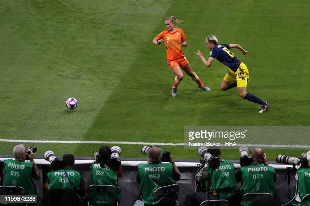 Desiree Van Lunteren of the Netherlands battles for possession with Lina Hurtig of Sweden during the 2019 FIFA Women's World Cup France Semi Final...