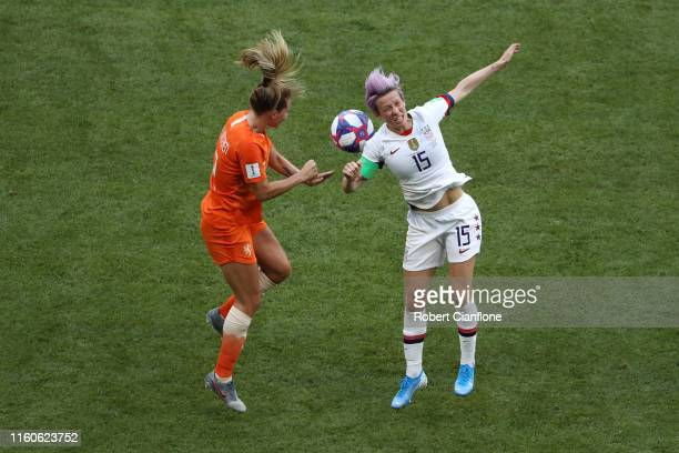 Desiree Van Lunteren of the Netherlands battles for possession with Megan Rapinoe of the USA during the 2019 FIFA Women's World Cup France Final...
