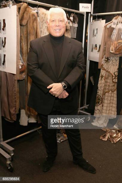 Desitner Dennis Basso poses backstage for the Dennis Basso collection during New York Fashion Week The Shows at Gallery 1 Skylight Clarkson Sq on...