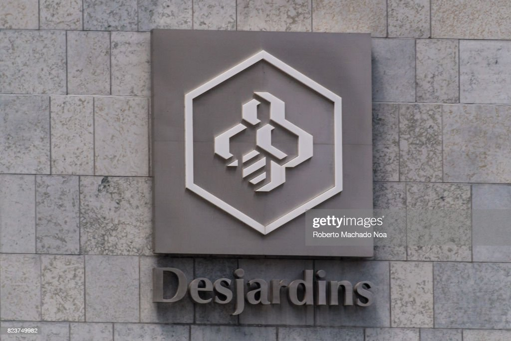 Desjardins logo sign in headquarter building in the downtown... : News Photo