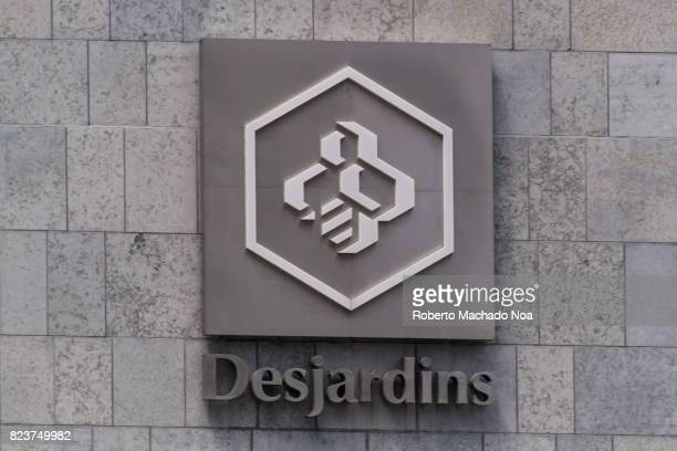 Desjardins logo sign in headquarter building in the downtown district The Desjardins Group is the largest association of credit unions in North...