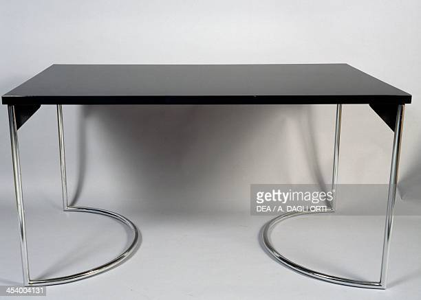 Desk 19301940 wooden top and steel legs United States of America 20th century