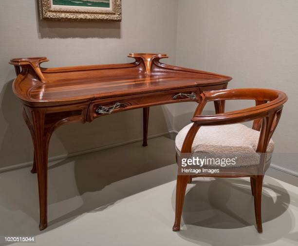 Desk and Chair circa 1900 Jacques Gruber French 18701936 Mahogany with Bronze and upholstery