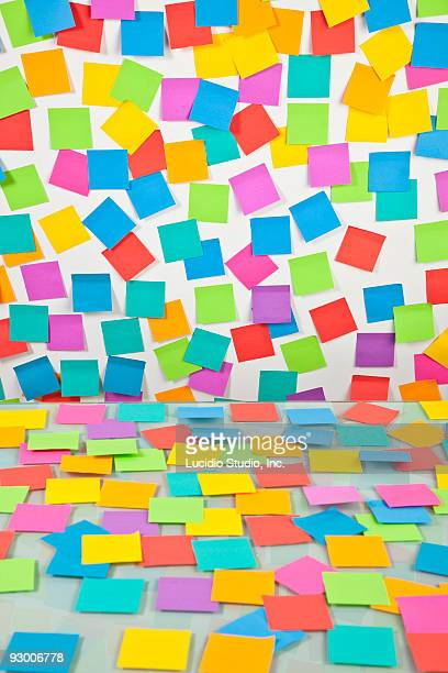 Desk and wall covered in Postit notes