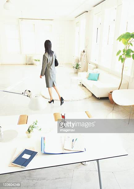 desk and woman before work - birthing chair stock pictures, royalty-free photos & images