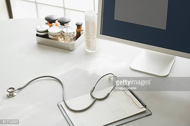 Desk in doctors office